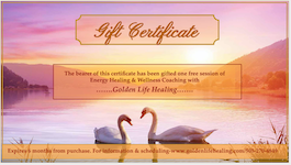 Gift Certificate image with swans in pink sunrise over lake
