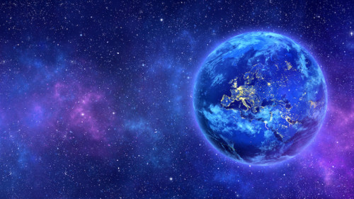 blue aura earth in purple cosmos